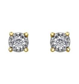10K Yellow Gold Illusion Set (0.03ct - 0.50ct) Diamond Stud Earrings