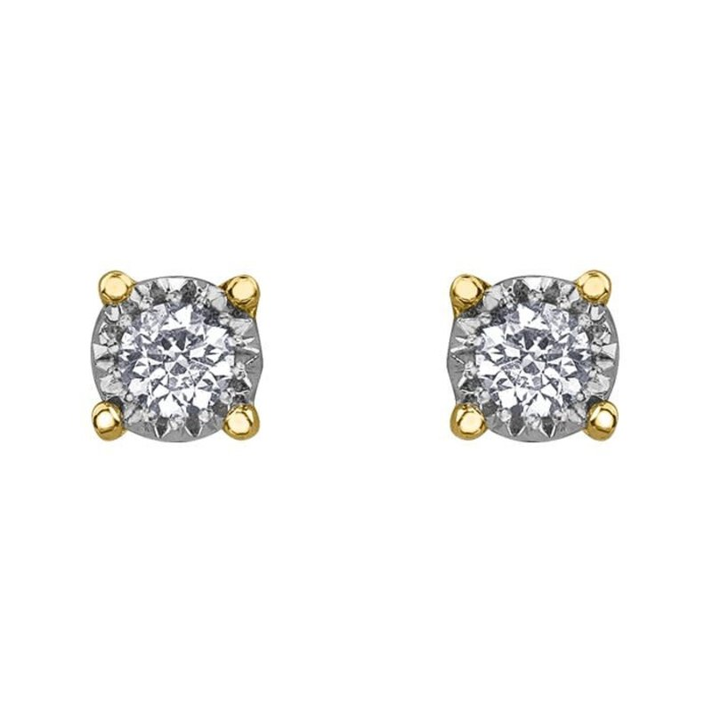 10K Yellow Gold Diamond Solitaire (0.03ct - 0.50ct) Stud Earrings