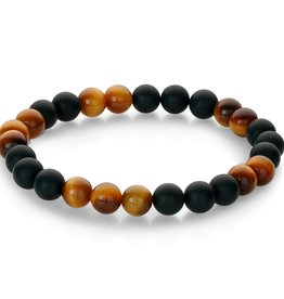 Yellow Tiger's Eye and Matte Black Onyx Beaded Stretch Bracelet