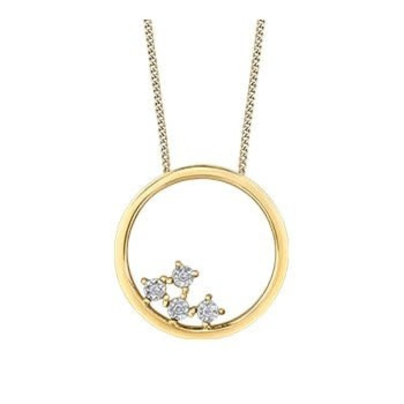 10K Yellow Gold Diamond Contemporary Pendant (0.02ct)