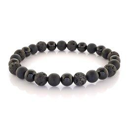 Matte & Shiny Black Onyx with Lava Stone Beaded Stretch Bracelet