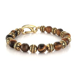Amen Tiger's Eye Beads with Stainless Steel Gold Plated Bracelet
