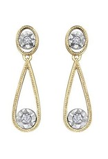 10K Yellow & White Gold (0.06ct) Diamond Dangle Earrings