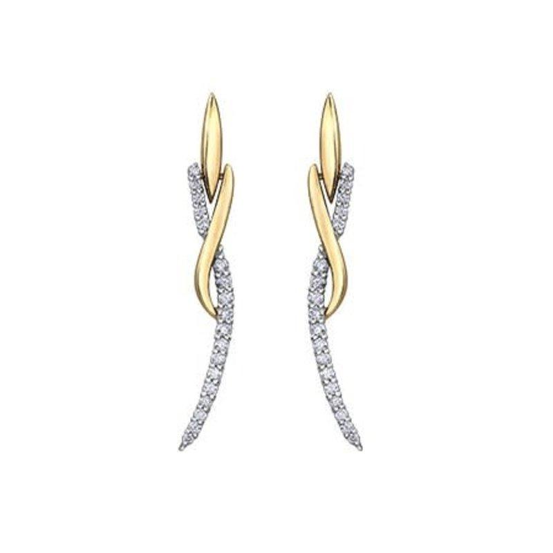 10K Yellow & White Gold (0.33ct) Diamond Dangle Earrings
