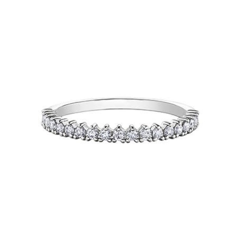 10K White Gold and White Topaz Stackable Band