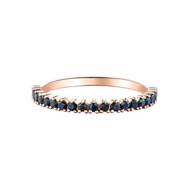 10K Rose Gold (1.5mm) Black Sapphire Stackable Wedding Band