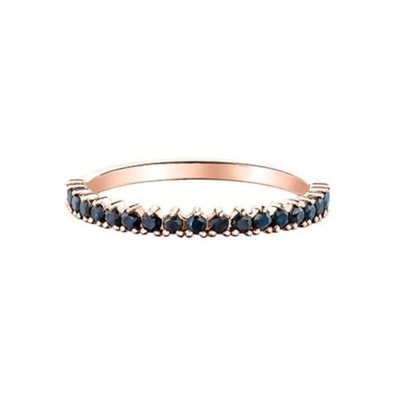 10K Rose Gold and Black Sapphire Stackable Band