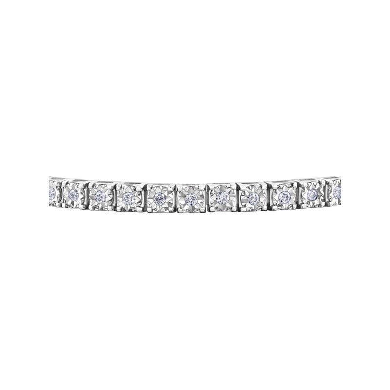 10K White Gold (1.00ct) Illusion Set Diamond Tennis Bracelet