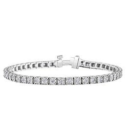 10K White Gold (1.00ct) Illusion Set Diamond Tennis Bracelet