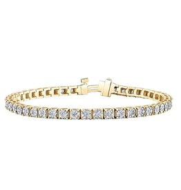 10K Yellow and White Gold (1.00ct) Illusion Set Diamond Tennis Bracelet