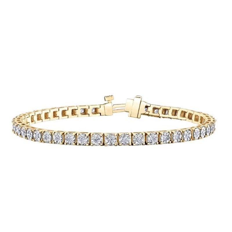 10K Yellow and White Gold (1.00ct) Illusion Set Diamond Tennis Bracelet