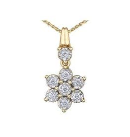 10K Yellow and White Gold (0.20ct) Diamond Illusion Setting Dangle Pendant