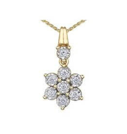 10K Yellow and White  Gold (0.20ct) Diamond Pendant