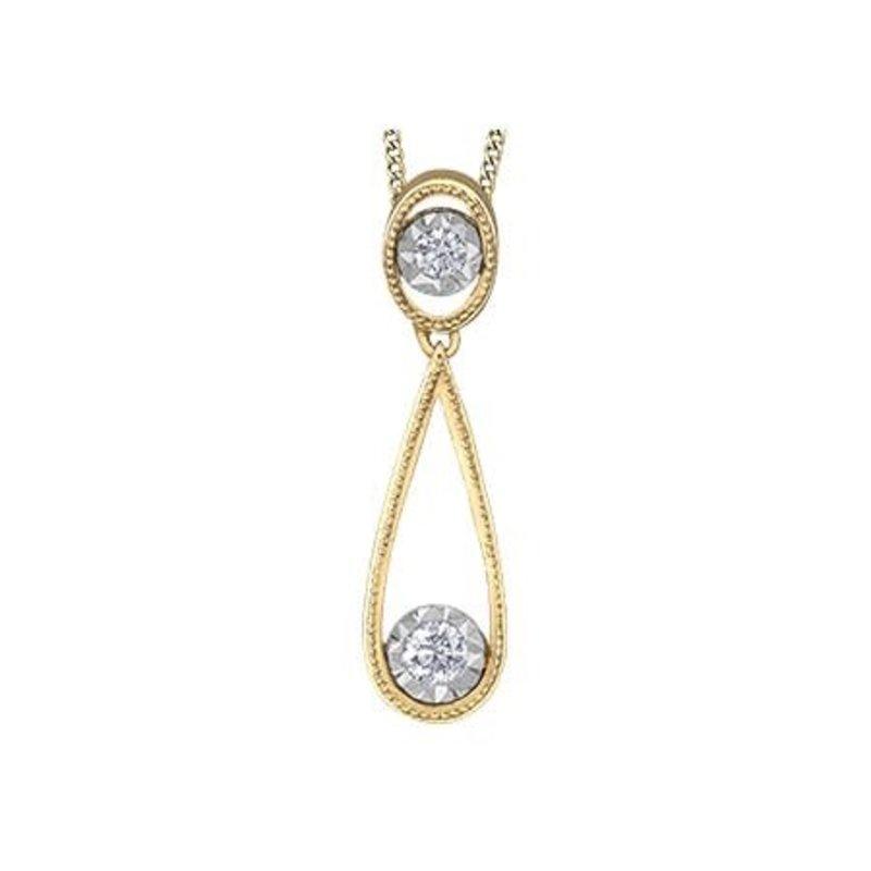 10K Yellow and White Gold (0.06ct) Diamond Illusion Setting Dangle Pendant