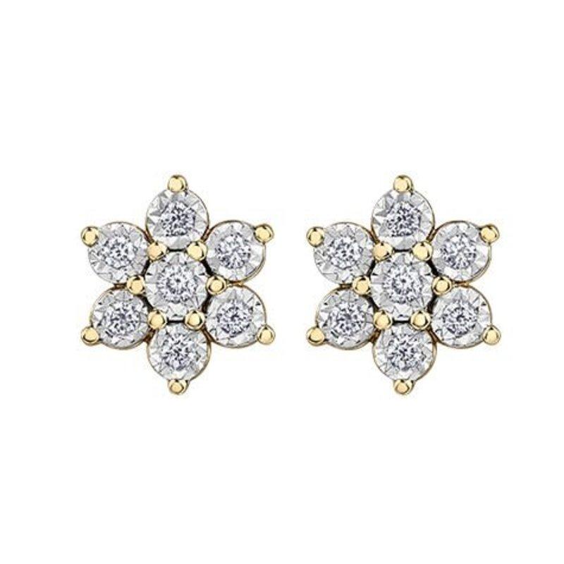10K Yellow & White Gold (0.30ct) Diamond Earrings