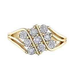 10K Yellow and White Gold (0.50ct) Diamond Illusion Setting Ring