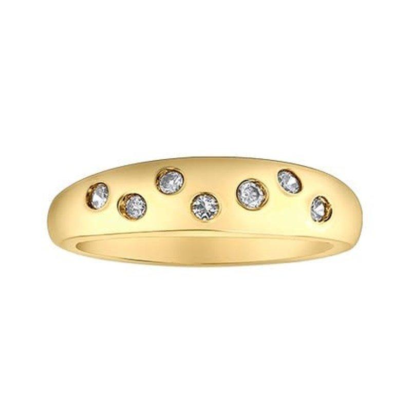 10K Yellow Gold (0.15ct) Diamond Dome Ring