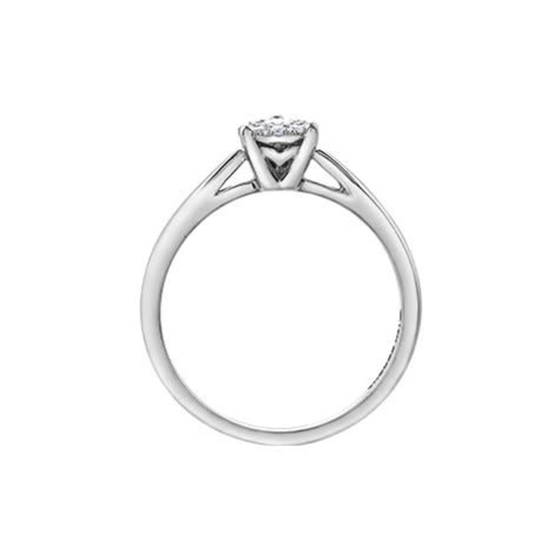10K White Gold (0.08ct) Pear Shape Clustered Diamond Promise Ring
