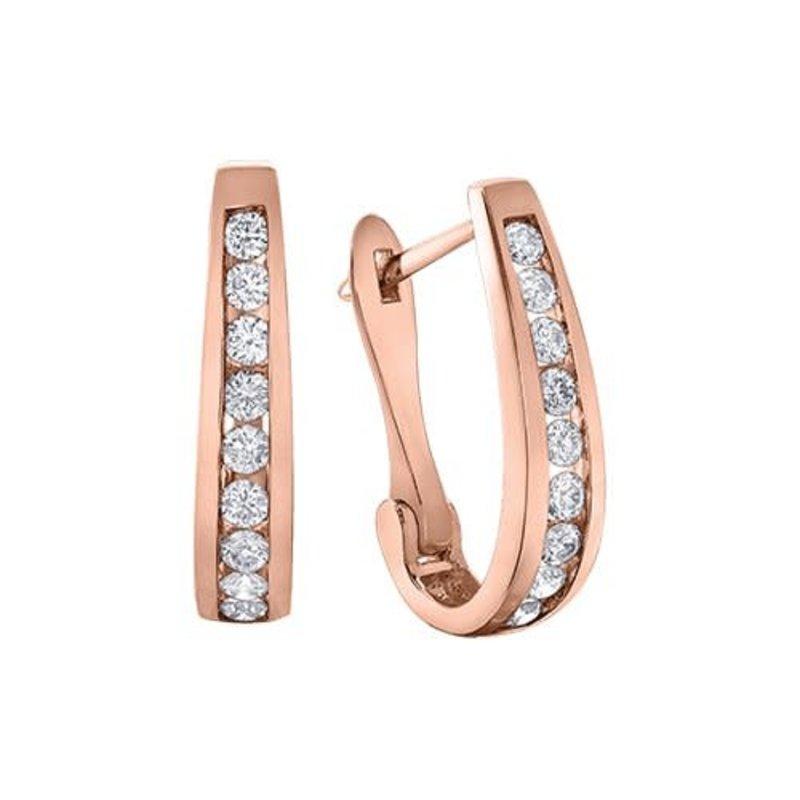 10K Rose Gold (1.00ct) Diamond Lever Back Earrings
