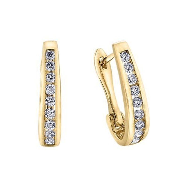 10K Yellow Gold (0.75ct) Diamond Lever Back Earrings