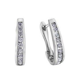 10K White Gold (0.25ct) Diamond Lever Back Earrings