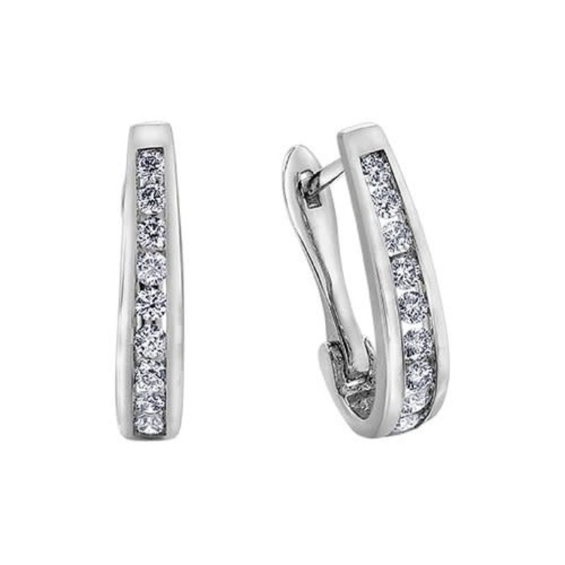 10K White Gold (0.50ct) Diamond Lever Back Earrings