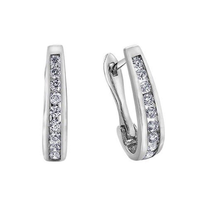 10K White Gold (1.00ct) Diamond Lever Back Earrings