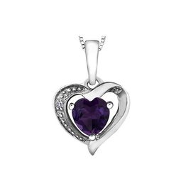Forever Jewellery 10K White Gold Diamond and Amethyst Pendant