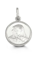10K White Gold Virgin Mary Medallion Pendant