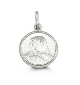 10K White Gold Virgin Mary Medallion Pendant