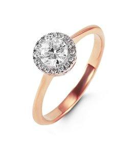 10K Rose Gold CZ Halo Ring