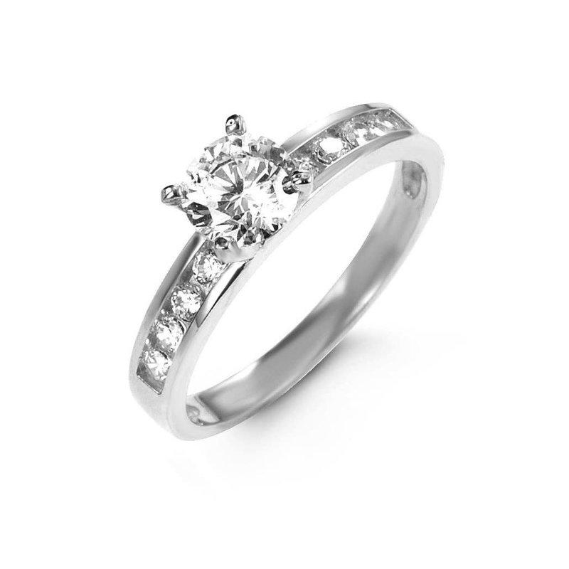 10K White Gold CZ Ring