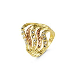 10K Tri Color Diamond Cut Wavy Wide Band Ring