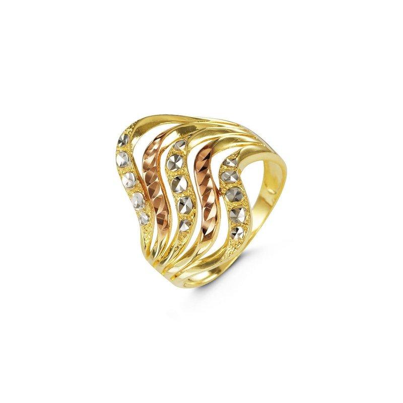 10K Tri Color Diamond Cut Ring