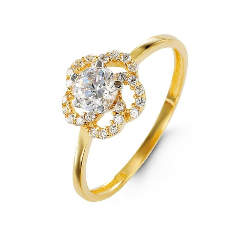 10K Yellow Gold CZ Floral Ring