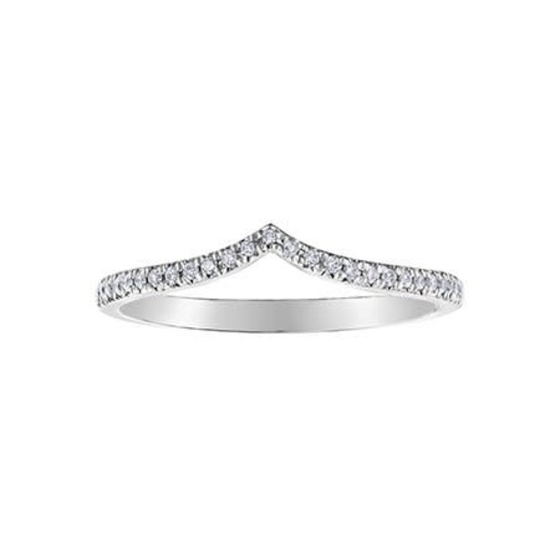 (10, 14K) White Gold (0.10ct) Diamond Stackable Chevron Wedding Band
