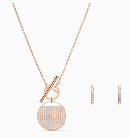 Swarovski Swarovski Ginger T Bar Set, White, Rose Gold Tone Plated