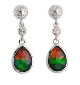Korite Korite Emily Ammolite Sterling Silver Dangle Earrings with White Sapphire