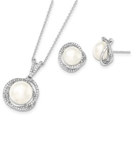 Sterling Silver (10-12mm) Fresh Water Pearl Necklace / Earring Set