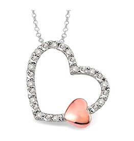Sterling Silver (0.05ct) Diamond Heart Necklace
