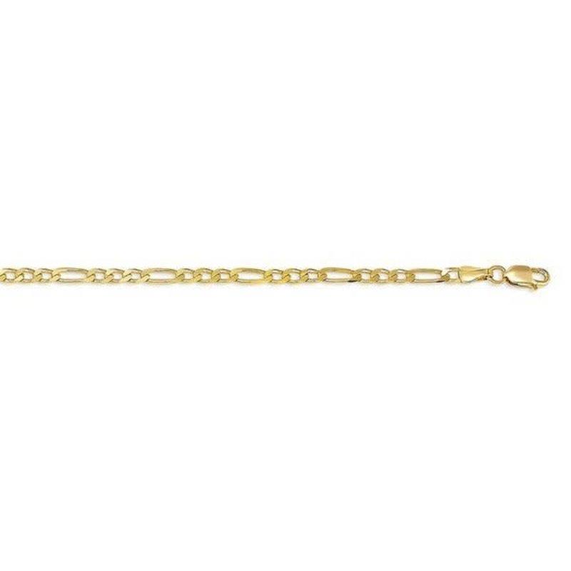 "10K Yellow Gold (2.9mm) Figaro Ankle Bracelet 9""/10"""