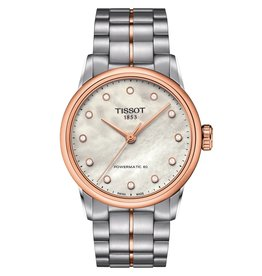 Tissot Tissot Luxury Automatic Ladies Two Tone Diamond and Mother of Pearl Dial Watch