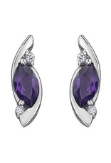 10K White Gold Diamond Amethyst Stud Earrings