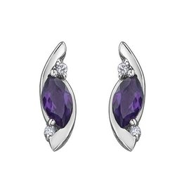 10K White Gold Diamond Amethyst Stud Earrings