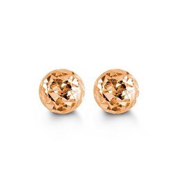 10K Rose Gold (5mm - 10mm) Diamond Cut Ball Stud Earrings