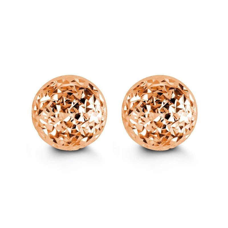 10K Rose Gold (5mm - 10mm) Diamond Cut Ball Stud Earrings