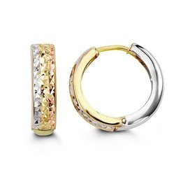 10K Tri Color Yellow, White & Rose Gold Diamond Cut Huggie Earrings