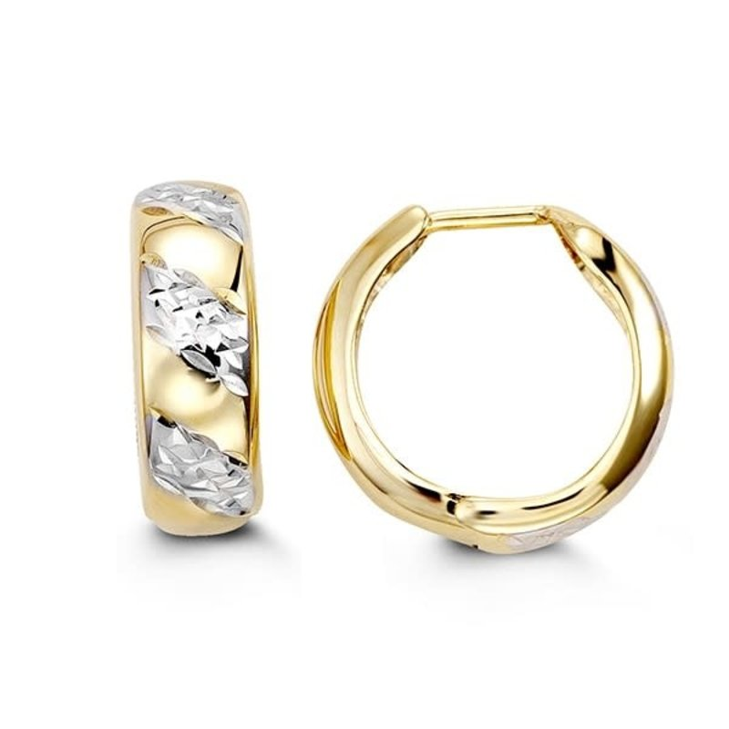 10K Two Tone Yellow and White Gold Diamond Cut Huggie Earrings