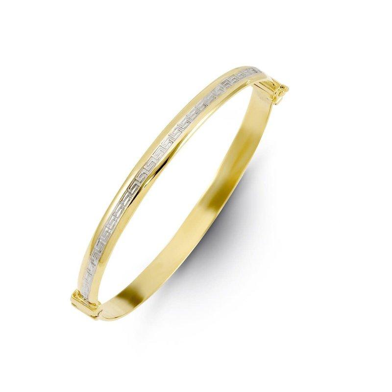 10K Two Tone Yellow and White Gold Diamond Cut Greek Key Symbol Bangle