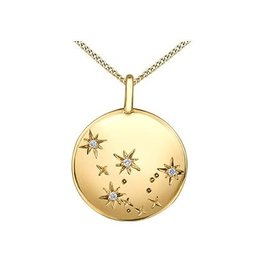 10K Yellow Gold Diamond (Aquarius) Zodiac Pendant